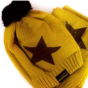 Розничная, комплект из шапки и шарфа для малышей, шерстяная шапка и шарф для малышей, зимняя детская шапка, вязаные шапки со звездой, вязаная шапка для детей - Цвет: orange