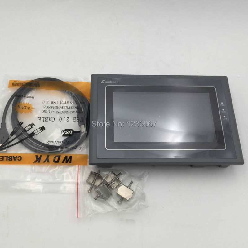 7 Inch HMI Touch Screen Operator Panel Samkoon SK-070FE & Programming Cable New In Box new hitech 5 7 inch hmi touch screen plc hmi operator panel display mono stn lcd pws6600s p 640 480 2com 1year warranty
