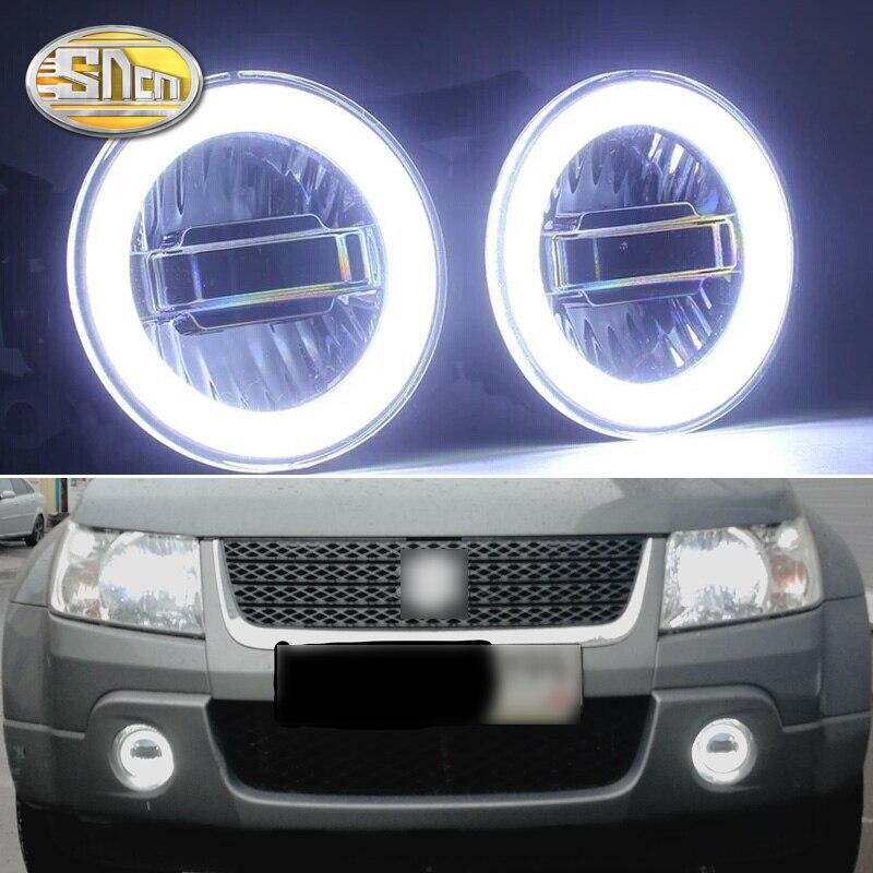 SNCN 3-en-1 fonctions Auto LED Angel Eyes feux de jour projecteur de voiture antibrouillard pour Suzuki Grand Vitara 2007-2012