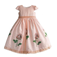 Flower Girl Dress Rose Floral Girls Christmas Dresses Pearl Sashes Pink Princess Kids Party Formal Clothes