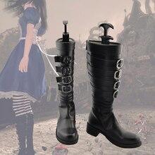 Anime alice madness retorna botas de cosplay feitas sob encomenda sapatos