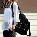 W.D. POLO женская Кожа Стад и замок рюкзак высокая chic герцог леди сумка modern девушки школьная сумка случайный мягкий носить M2197