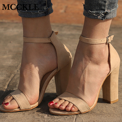 MCCKLE Women Flock Square Heel Sandals High Heels Buckle Strap Female Fashion Dress Woman Sandal Shoes For Girls Plus Size