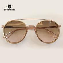 Rodada Óculos De Sol Das Mulheres óculos de Titânio Puro Quadro Marca Designer Shades Steampunk Oculos de sol Masculino feminino