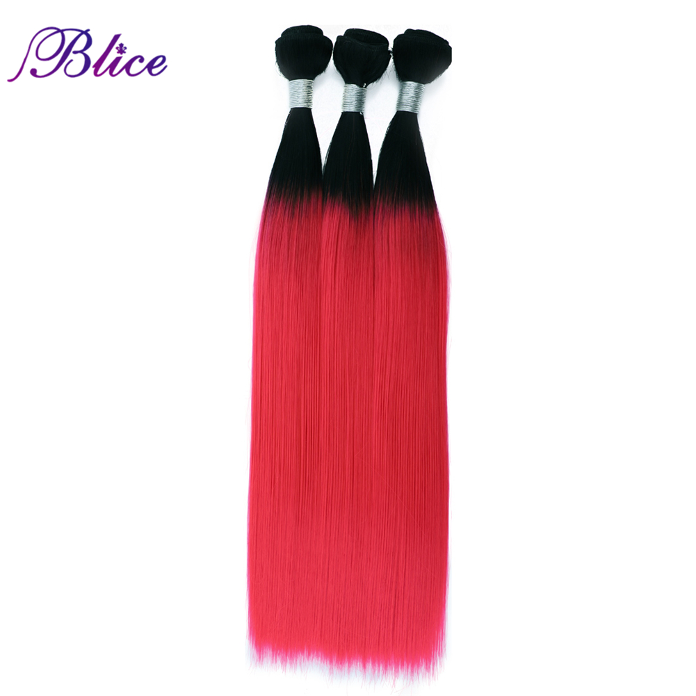Blice Synthetic Omber Hair T1B/Red Long Straight Hair Weaving 3 Bundles Deal Hair Weft Colorful Hair Pieces For Girls(China)