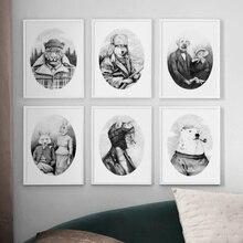 Abstracto zorro conejo oso cartel Vintage carteles nórdicos e impresiones arte de pared lienzo pintura cuadros de pared para decoración de sala de estar