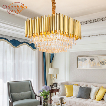Modern Contemporary Crystal Chandelier Light Square LED Cristal Chandeliers Hanging Lamp Home Hotel Living Room Lighting Fixture