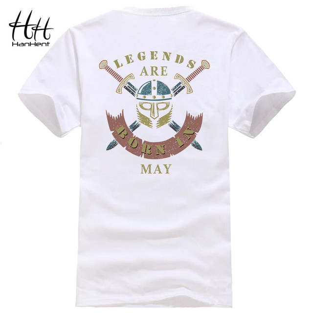 HanHent LEGENDS BORN IN MONTHS T Shirts Men White Shirt Cotton Custom