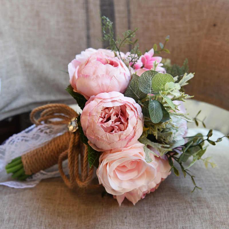JaneVini 2018 Gaya Eropa Bunga Buatan Karangan Bunga Pernikahan untuk Bride Kristal Peony Renda Bros Bouquet De Mariage 7 Warna