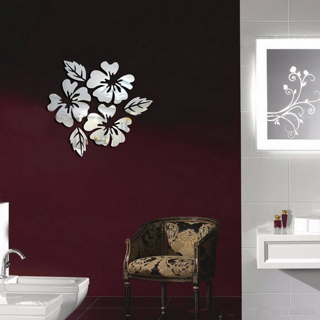 3D sticker new design flowers art sofa bed background modern acrylic home decoration diy mirror wall stickers 4