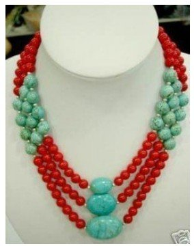 FREE SHIPPING>>>@@ Charming 3 row red coral &turquoise necklace Fashion S