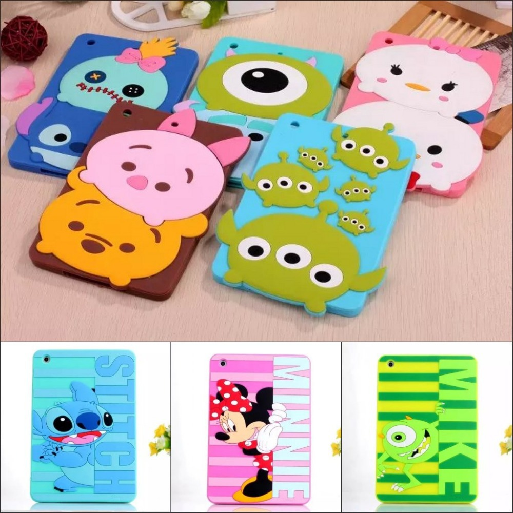 3D Cute cartoon Bear Mickey Pooh Stitch Mike Minnie Bear soft silicone case cover for ipad mini 2 3 ipad mini with screen film for ipad mini4 cover high quality soft tpu rubber back case for ipad mini 4 silicone back cover semi transparent case shell skin