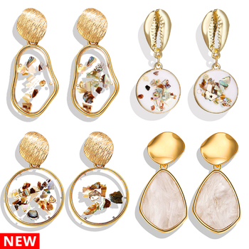 Geometric Shell BOHO Resin Drop Earrings Brincos