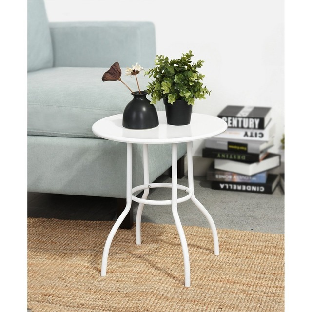 Small White Coffee Table Desk Eggree Wooden Mdf Round Tea Side