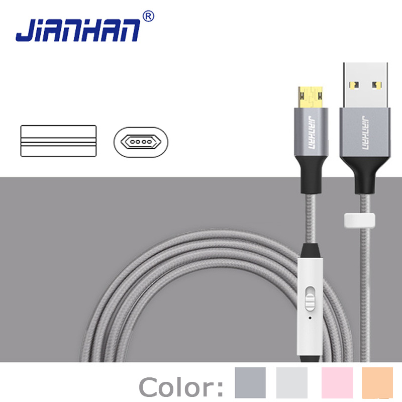 Reversible Micro USB Cable on off Switch Smart Quick Charging Data USB 2 0 Sync Cables for Xiaomi Sansumg Galaxy Android Phone in Data Cables from Consumer Electronics