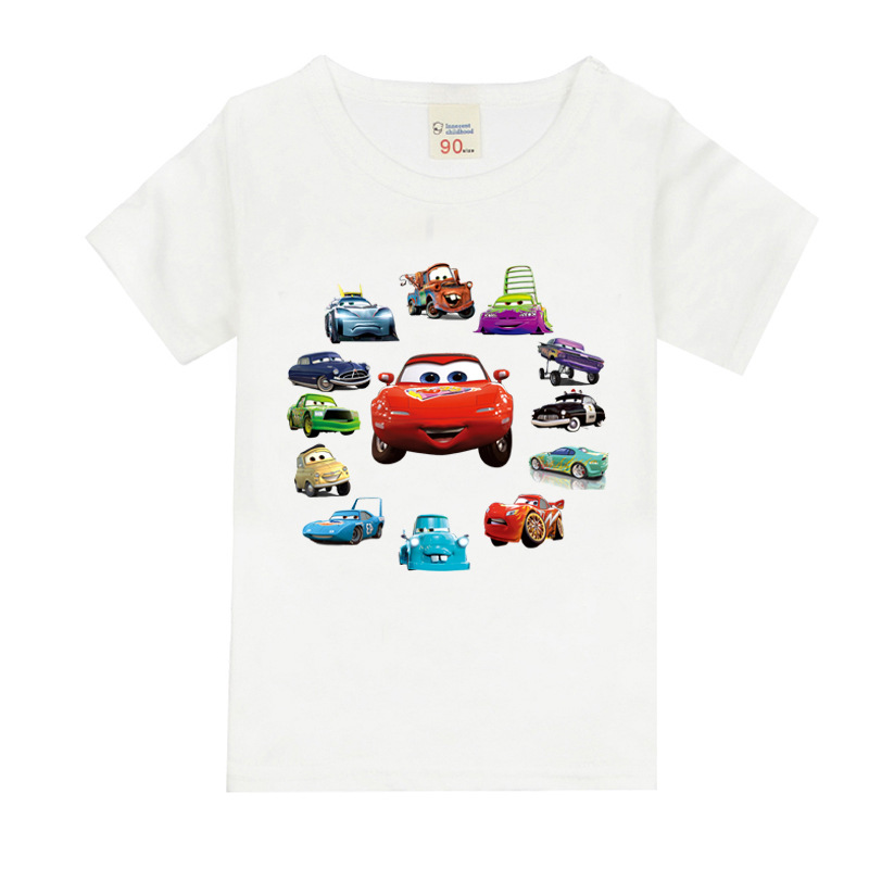 Summer Baby Boys T Shirt Cartoon Car Print Cotton Tops Tees T Shirt For Boys Kids Children Outwear Clothes Tops 1-8 Year 4 12y 2017 new boys t shirt at cartoon children t shirts for boys girls tees cotton tops kids clothes and trousers
