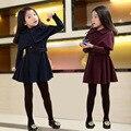 Moda outono Coreano Meninas Casaco Fashion + Duas Peças Em nome De Um Xale Meninas Regulares Com Decote Em V casaco Longo para meninas
