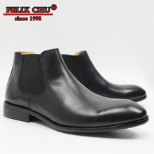 LUXURY DESIGNER SHOES MEN ANKLE BOOTS CHELSEA HIGH HANDMADE BRITAIN STYLE SLIP ON BLACK LEATHER