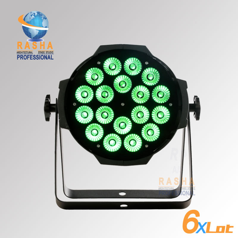 6X LOT Freeshipping 18*3W LED RGB 3in1 Tri Color LED Par Can Light LED King Par Light Stage Par Light For Stage Event Stage