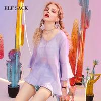ELF SACK New Elegant Woman Shirts Stylish Solid Ruffles V Neck Butterfly Sleeve Chiffon Women Blouse Streetwear Ladies Shirts