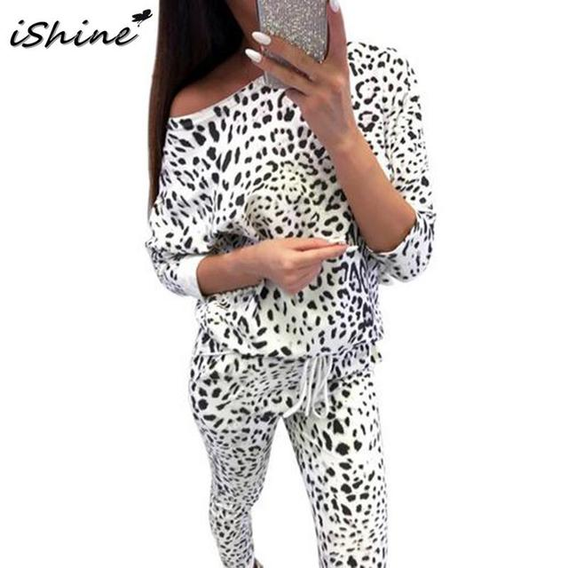 Camouflage Leopard Off Shoulder Sweatshirts Leggings Pants
