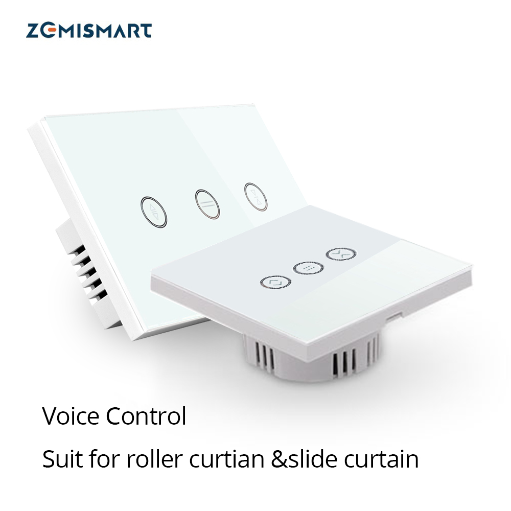 EU US Alexa Google Home Smart Curtain Switch For <font><b>Roller</b></font> Curtain Slide Curtain Wifi Touch Voice and <font><b>Phone</b></font> Control Home Automation