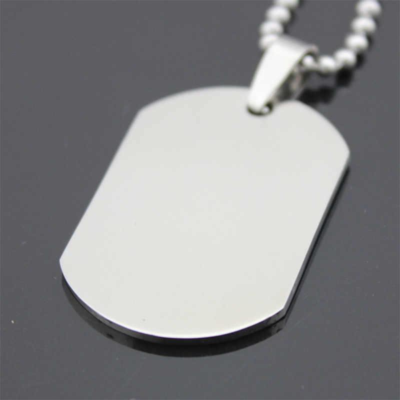 Wojskowy styl wojskowy srebrny Tone polerowany nieśmiertelnik mężczyźni kobiety ze stali nierdzewnej stalowy wisiorek długie koraliki choker łańcuszek naszyjnik biżuteria