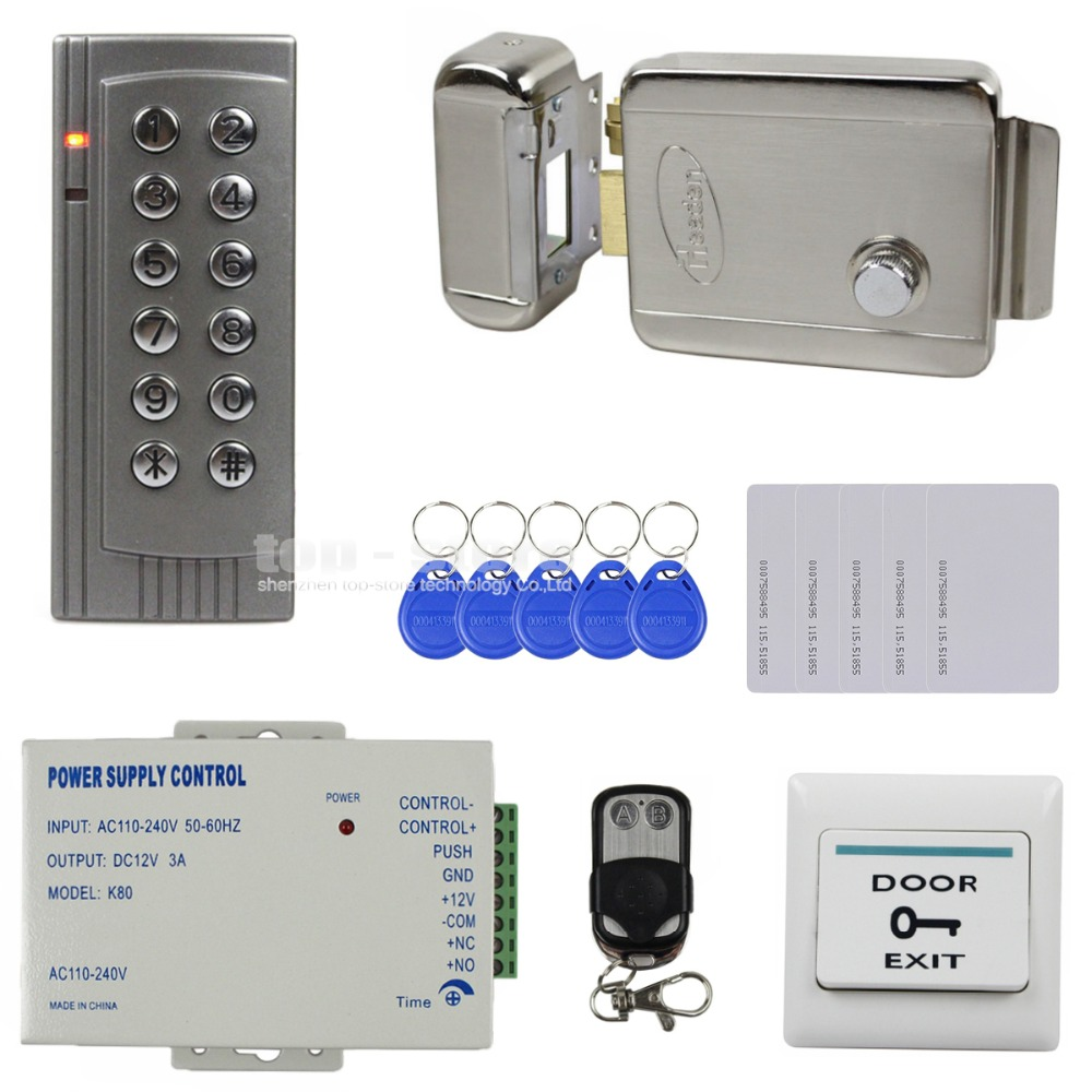 DIYSECUR Full Kit Set 125KHz RFID Reader Password Keypad Access Control System Security Kit + Electric Lock + Remote Control K4 diysecur 125khz rfid reader password keypad access control system full kit set electric strike door lock power supply
