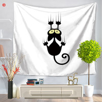 LUCKY TEXTILE Home Decor Tapestry Cute Panda Wall Hanging Carpet 150 130cm Black Cat Bedspread 150