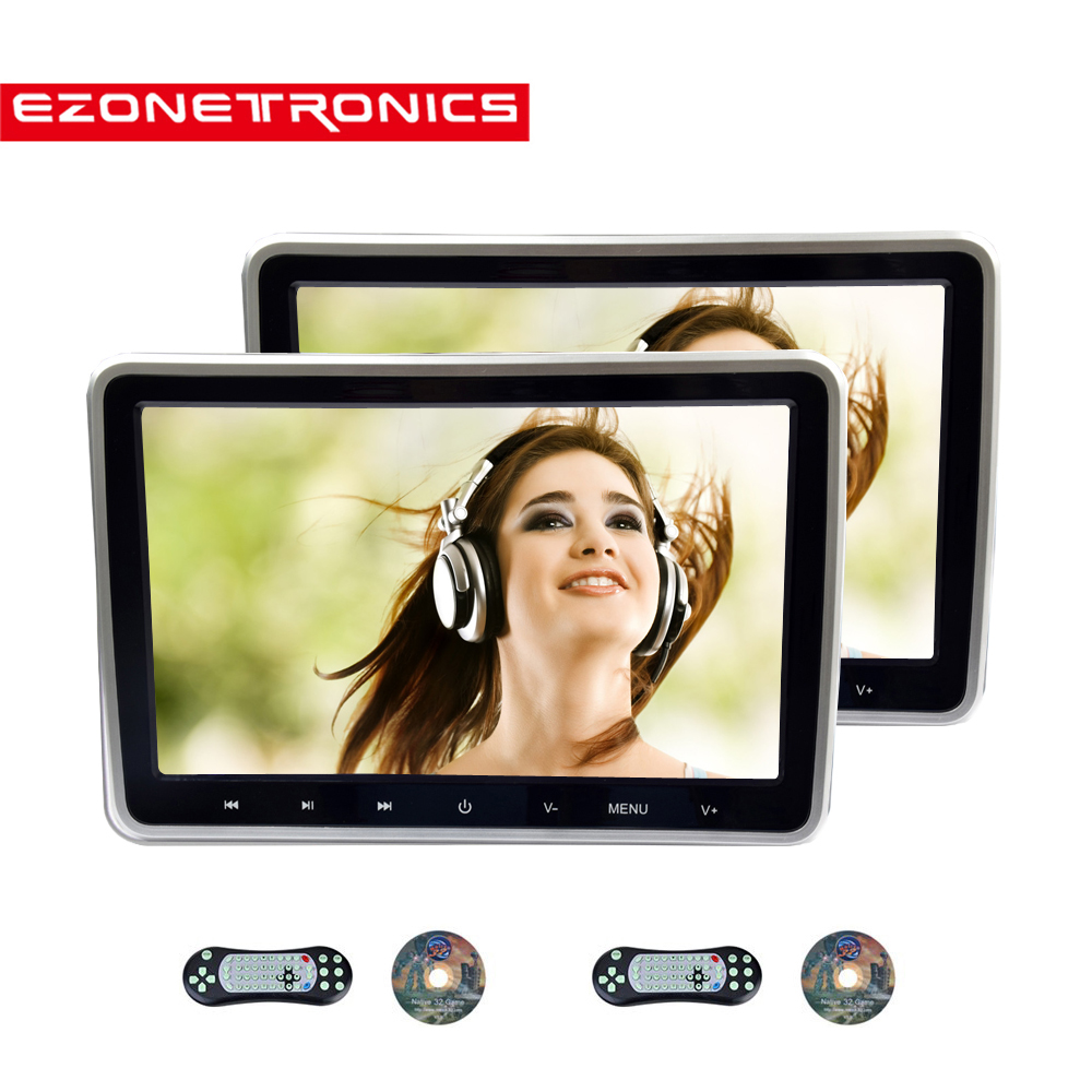 1/2PCS 10.1 Inch Car Headrest Monitor DVD Video Player USB/SD/HDMI/IR/FM TFT LCD  Screen Touch Button Game Remote Control stereo(China)