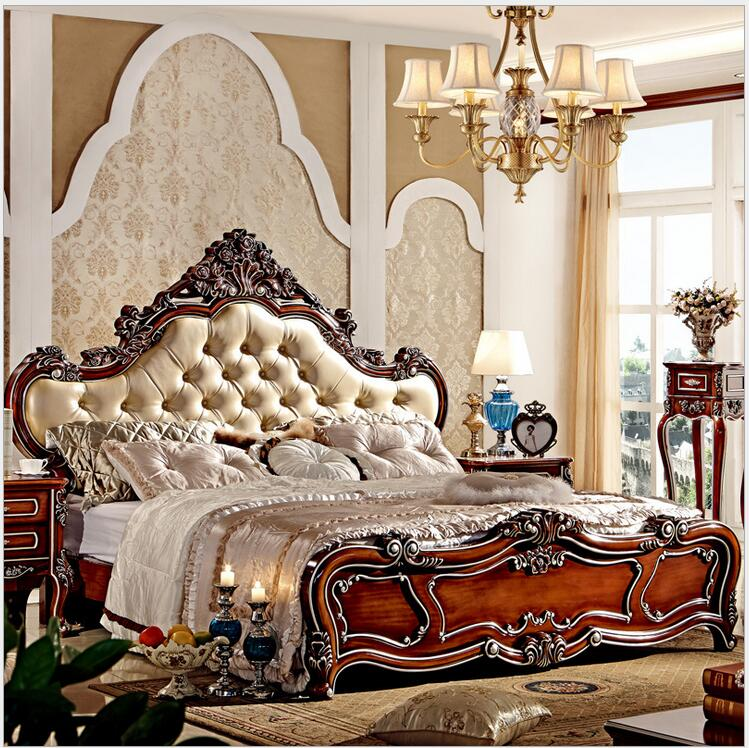 Modern european solid wood bed Fashion Carved  1.8 m bed  french bedroom furniture 7885