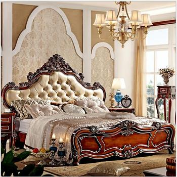 modern european solid wood bed Fashion Carved  1.8 m bed  french bedroom furniture 7885 designer modern fabric bed soft bed double bed king size bedroom furniture