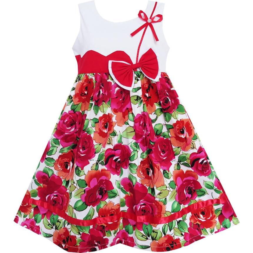 Flower     Girl     Dress   Cute Bow Tie Floral Party Holiday Sundress Kids Cotton 2018 Summer Princess Wedding Size 3-8