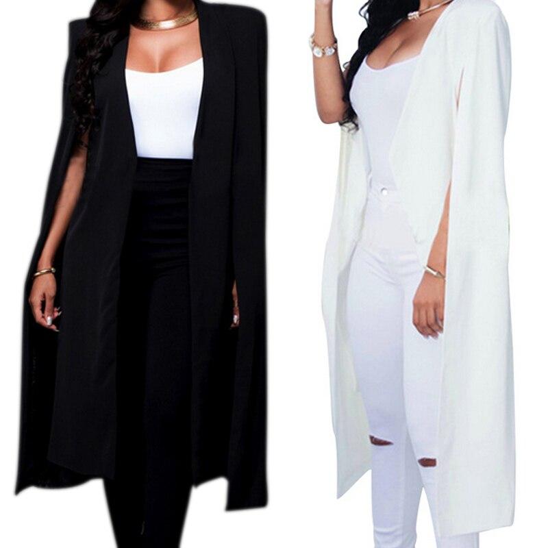 Omilka Veste Blazer Femme 2017 Winter Women Pink Gray Cloak Cape Blazer Fashion Long Sleeve Bomber Jacket Cape Blazer Workwear Suits & Sets