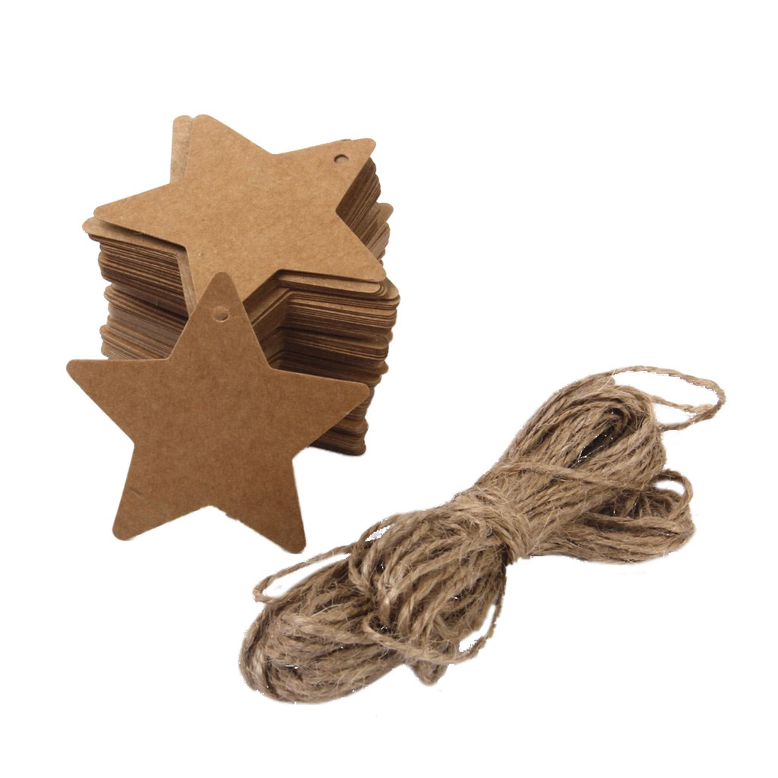 DIY blank Card star shape Stickers 100 Pieces Brown