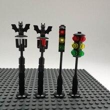 Halloween Morcego Brinquedos Modelo de Construção De Blocos Da Cidade Semáforo Luz de Rua Do Vintage DIY Acessórios LegoINGlys Tijolo Compatível