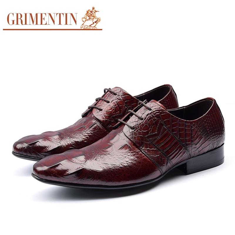 c2de82e61 GRIMENTIN العلامة التجارية التمساح نمط رجل الرسمي الأحذية جلد طبيعي أسود  براون الايطالية أزياء الزفاف الرجال
