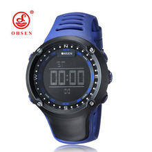 OHSEN Fashion Mens Digital Watches Waterproof 50ATM Military Army Casual Blue Outdoor Sports Wristwatches LED Rubber Alarm Clock