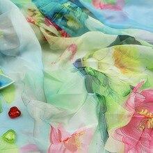 Модный стиль лотоса ткань 30D позиционирование градиент печатных шифон ткань искусственный шелковый шарф древний костюм платье ткань