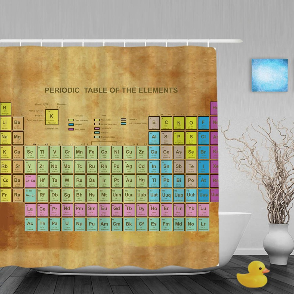 Periodic Table of Elements Kid Shower Cutains Chemistry Amateur Children Bathroom Curtains Polyester Waterproof Fabric With Hook Ванная