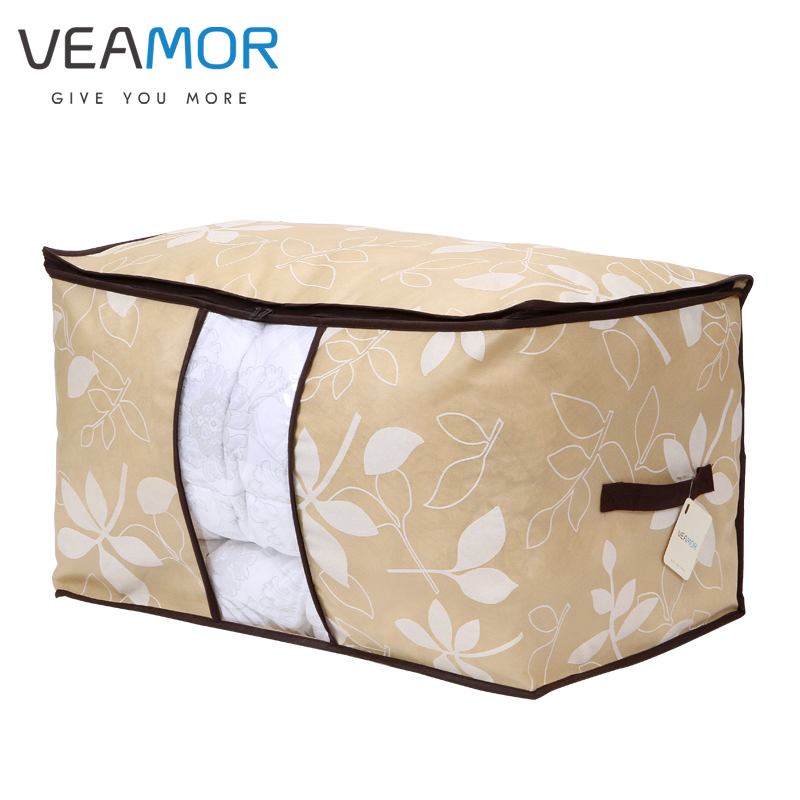 VEAMOR Flowers Printed Non-woven Quilts Clothes Storage Bags Space Saver Comforter Blanket Pillow Bedding Storage Container Bag