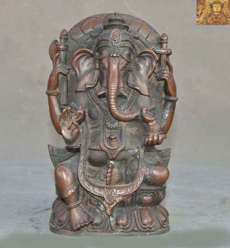 wedding decoration 8Tibetan temple bronze 4 arms wealth God Elephant Jambhala Mammon Buddha statuewedding decoration 8Tibetan temple bronze 4 arms wealth God Elephant Jambhala Mammon Buddha statue