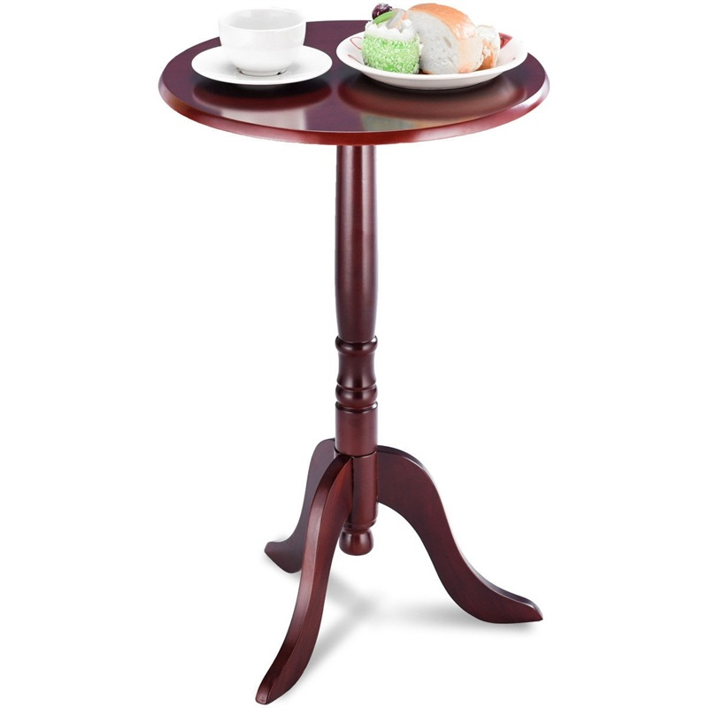 Classic Round Accent Table W/ Simple Design Bedroom Cherry Wood Small Tea Coffee Table