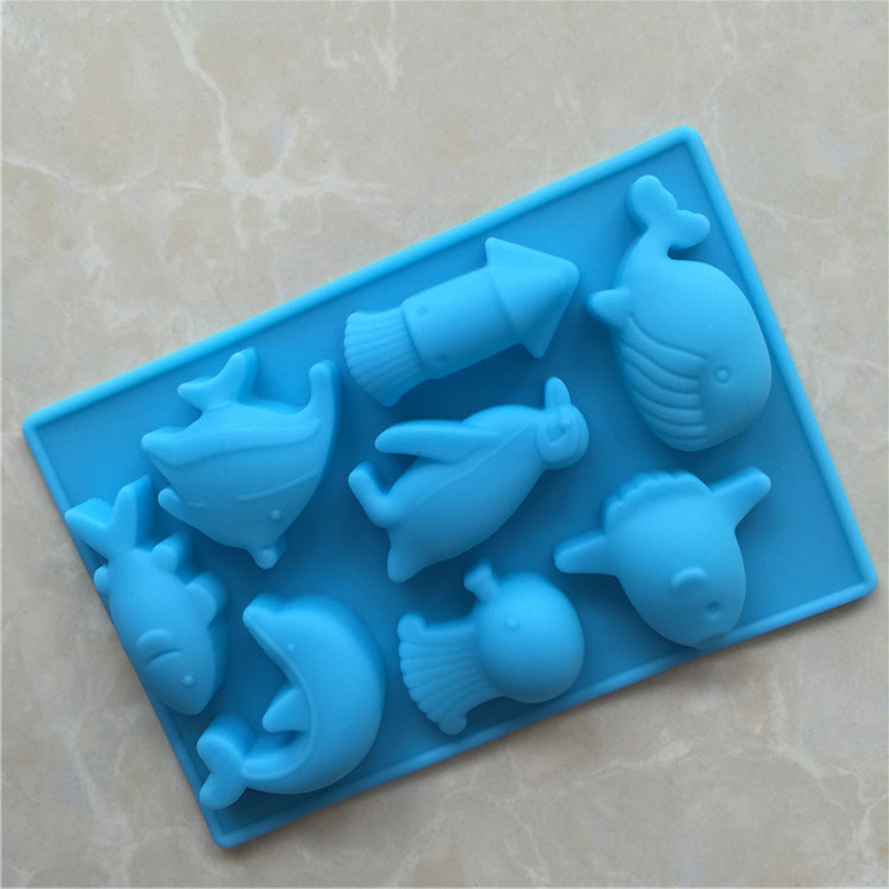 1pcs Marine World CreatureSilicone Chocolate Mould Fashion Simple Kitchen Bakeware Cake Tool Birthday Cake Decoration Supplies image