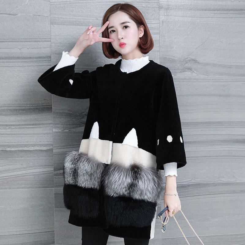Veste 2018 Longue Laine Black De Kj929 Véritable Fourrure Élégant Mode Coréenne Femmes Manteau Vêtements Manteaux Automne Poche Hiver Femme Renard 6qpwCxpX