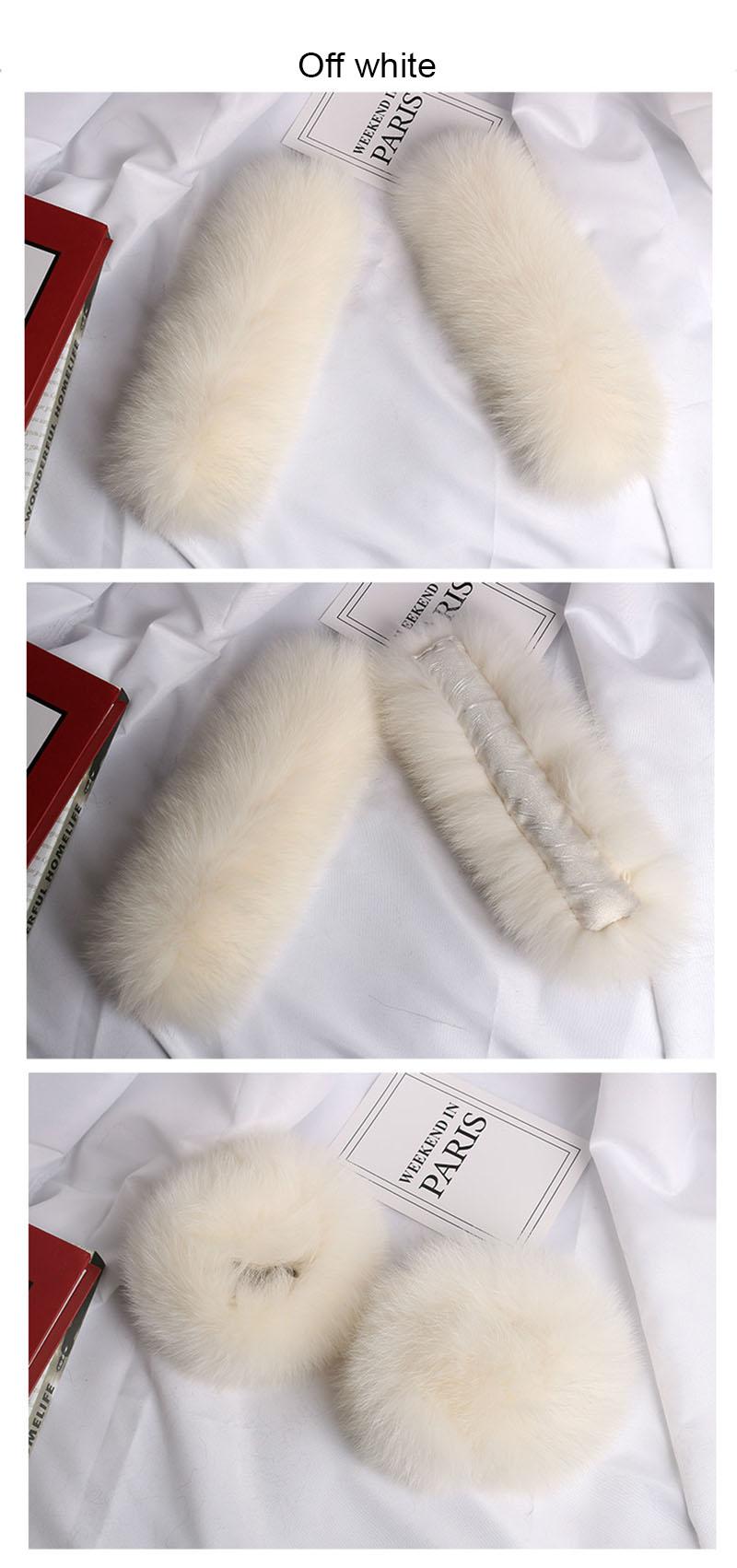 fox fur slap cuffs color off white