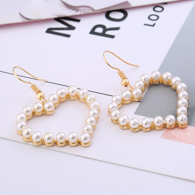 Fashion Heart Shaped Women's Pearl Drop Earrings