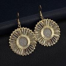 Pendientes de gota para mujer redondos dorados SilverSun, pendientes hipérbolic Vintage, pendientes de declaración para mujer, joyería Bohemia para novia, bisutería para mujer