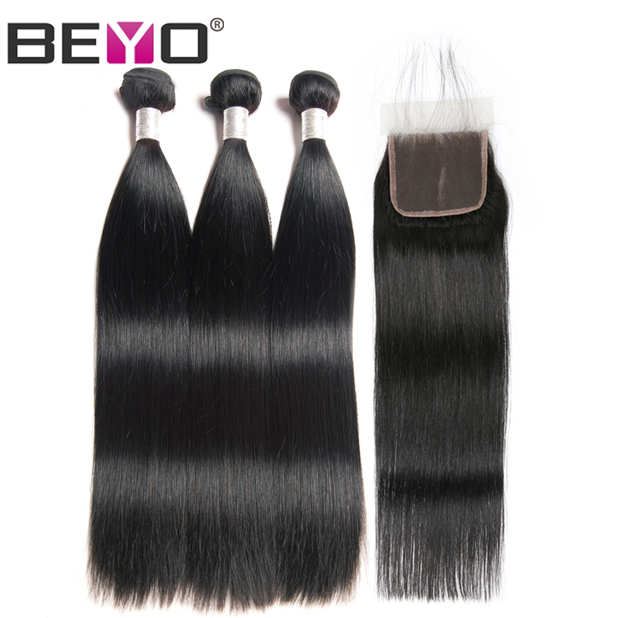 Beyo Straight Hair Bundles With Closure Brazilian Hair Weave 3 Bundles 100% Human Hair Bundles With Closure Remy Hair Extension