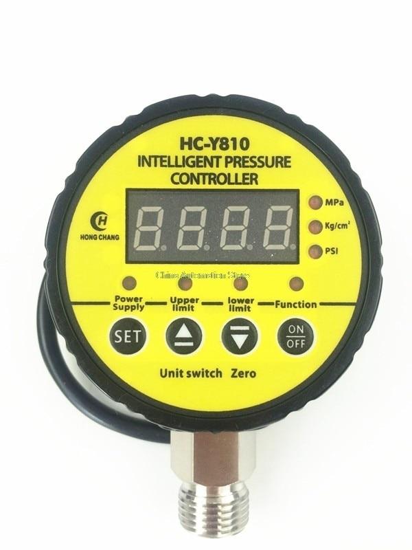 DC24V 0-60Mpa Air Compressor Pressure Switch Digital Pressure Gauge Relay output 13mm male thread pressure relief valve for air compressor